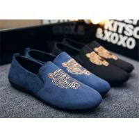 Best Autumn Slip On Vintage Loafer Shoes Embroidered Men Dress Shoes Black Blue wholesale