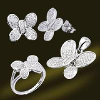 Best 925 Sterling Silver Micro Setting CZ Butterfly Jewelry Set (RSA5398) wholesale