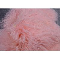 Best Mongolian Sheepskin Rug Pink Dyed Extra Long hair Tibetan Lamb fur Garment Trim wholesale