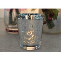 Best Mercury Glass Candle Holders Votive Set Wedding Decoration with Laser Numbers wholesale