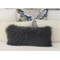 Best Genuine Tibetan sheepskin Body Pillow MONGOLIAN FUR LUMBAR CUSHION GREY Color 30x60cm wholesale
