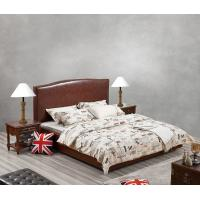 Best Glassic design of Leisure Bedroom Furniture Upholstered Headboard Bed by True Leather with High density Sponge covered wholesale