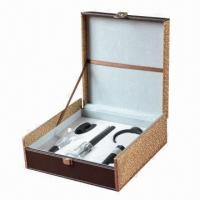 Buy cheap 5-piece ABS Air Pressure Wine Opener Set with Deluxe Brown Leather Box Pack from wholesalers