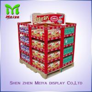 Best Full color Printing Cardboard Pallet Display For Supermarket Display Bread and tableware wholesale