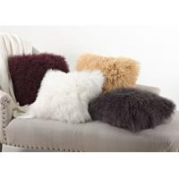 Cheap Warm Real Fur Pillow Covers , Customized Decorative Mongolian Fluffy Cushions  for sale