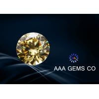 Custom Round Shape Synthetic Moissanite Yellow For Necklace 6.5mm