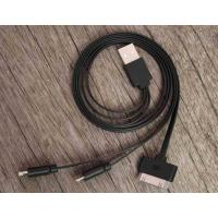Best Black Data Flat Micro USB Charger Cable 3 in 1 20cm - 50cm for iPhone wholesale