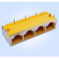 Best Side Entry/Right Angle RJ45 Modular Jack Shielded 10P8C Shielded 1*4 Multi-Ports Yellow wholesale