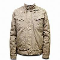 Best Men's Cotton Jacket in Fashionable Design, Available in Cream Color wholesale