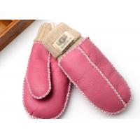 Best Hand Washing Warmest Sheepskin Gloves / Crocheted Little Kids Fleece Mittens wholesale