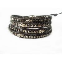 Best 72cm Skull Leather Wrap Bracelet / Black Skull Wrap Bangle Bracelet Wholesale wholesale