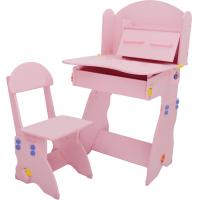 Buy cheap 18.3KG Pink Solid Wooden Children'S Desk And Chair Set With Hidden Drawer from wholesalers