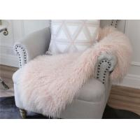 Best Light Pink Real Sheepskin Rug Long Silky Curly Fur 2' X 4' For Winter / Spring / Autumn wholesale