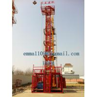 China Small 2T Material Hoist Double Cages Lifting Elevator 24m Height Price on sale
