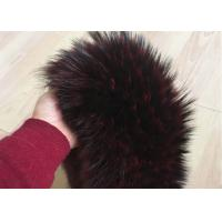 Best Extra Long Pile Real Raccoon Fur Collar Scarf Wine Color With Button Holes wholesale