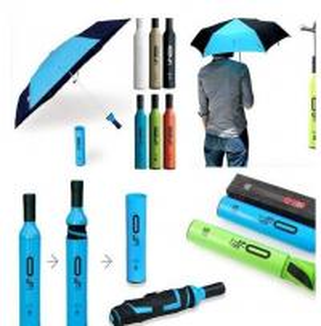 China Sky Blue Wine Bottle Umbrella Plastic Handle Strong Fiberglass Shaft / Ribs on sale