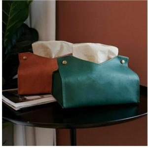 Best Fancy Real Leather Debossed Car Tissue Box BPA Free wholesale