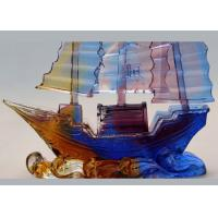 Best Office Desk Decoration Colored Glaze Crafts , Chinese Style Sailing Boat Adornment wholesale