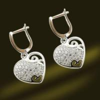 Best Heart Shape Silver Earrings CZ Jewelry Earrings Micro Pave Earrings (RSA5380-E) wholesale