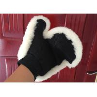 Best Single Sided Fur Sheepskin Car Wash Mitt For Detailing Cleaning / Polishing wholesale