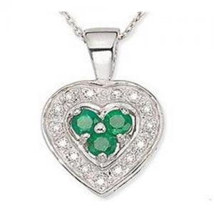 Best Emerald & Diamond Heart Pendant wholesale