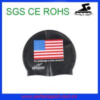 Cheap Racing USA national flag swim silicone caps for men for sale