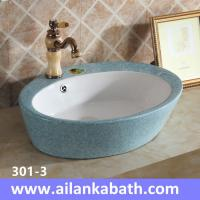 Buy cheap 2016 new model fashion blue white color basin sanitary ware colorful art basin from wholesalers