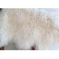 Best 100% Sheepskin Natural Long hair Mongolian Lambskin Cream White Curly fur rug wholesale