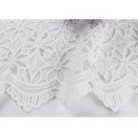 Best Dubai White Bridal Embroidered Mesh Fabric By The Yard Water Soluble With Scalloped Edge wholesale