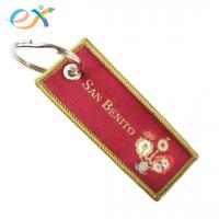 Best Red Color Personalized Fabric Keychains , Polyester Keychain With Logo Customized wholesale