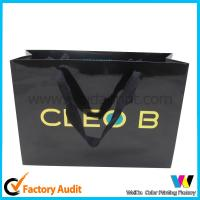 Best Unique Printed Paper Supermarket Shopping Bags , black Folding Paper Bag wholesale