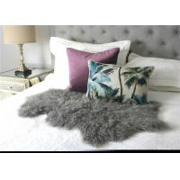 Cheap Hide Pelt Grey Bedroom Sheepskin Rugs 100% Mongolian Lamb Fur With Long Hair for sale