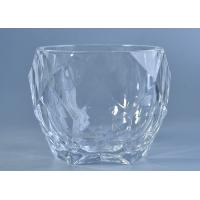 Best High White Crystal Candle Holders Glass , Diamond Shaped Glass Candlestick Holders wholesale