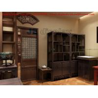 Best Wooden Display Cabinet in Chinese Classic Style Design with Counter and table in Tea Retail Store Fixture wholesale