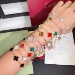 Best Charming 18K Gold Van Cleef Jewelry , Vintage Alhambra Bracelet 5 Motifs van cleef copy jewelry wholesale