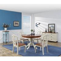 Best Mediterranean Style Dining room Furniture by wood table and chairs with Buffet Cabinet in white/blue painting wholesale
