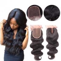 Best Middle Part Human Hair Lace Closure With Baby Hair 4x4 Natural Color Body Wave wholesale