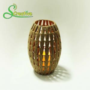 Best Coffee Color Led Rattan Solar Garden Lights Wicker Candle Lantern Energy Efficient wholesale