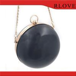 Best Fashion hardware accessories custom gold round shape evening bag plastic box metal frame wholesale