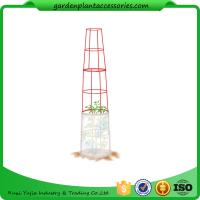 "Best Large Tall Tomato Plant Stakes , Red Heavy Duty Tomato Cages size 14"" in diameter x 66"" H overall Fabric is imported wholesale"