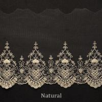 Best Embroidered Cotton Mesh Nylon Tulle Bridal Lace Trim , 5.2 Inch Scalloped Lace Trim wholesale