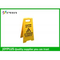Cheap Yellow Plastic Caution Sign Board / Portable Sign Stands Eco Friendly 62x30cm for sale