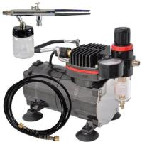 China Professional Airbrush Tattoo Kit Machine with Single Cylinder Piston Air Compressor 1/6HP on sale