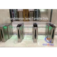 Best Double Core Fingerprint Biometric Turnstile Gate , Fast Pass Flap Barrier Turnstile With Software wholesale