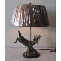 Antique Moose Brass Shade Table Lamp, Copper Shade Lamp (SFR0651)