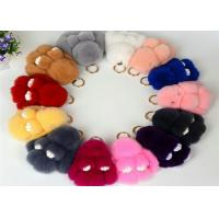 Best 13-20cm Fluffy Bunny Keychain With 100% PP Cotton Filling / Real Rabbit Fur wholesale
