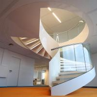 Best Simple Stainless Steel Design for Curved Staircase / Glass Railing / Wooden Treads wholesale