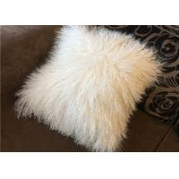 Best Mongolian fur Pillow Cream Tibetan sheep shaggy Real fur throw pillow 18 wholesale