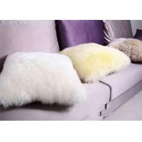 Best Long Wool Black Fur Throw Pillows , Fulffy Hair Medical Sheepskin Chair Pad No Filling wholesale