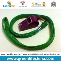 Best Green Lanyard Whistle Flat Polyester Lanyard Holder w/Wine Red Plastic Sports Whistle wholesale